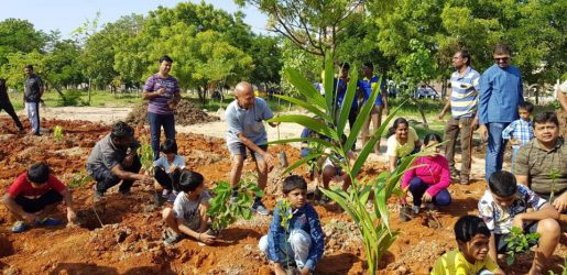 Rotaractors create  green hubs in Madurai